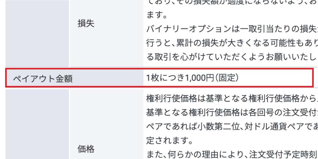 国内バイナリーオプションは、規制によりペイアウトが1000円固定になっている